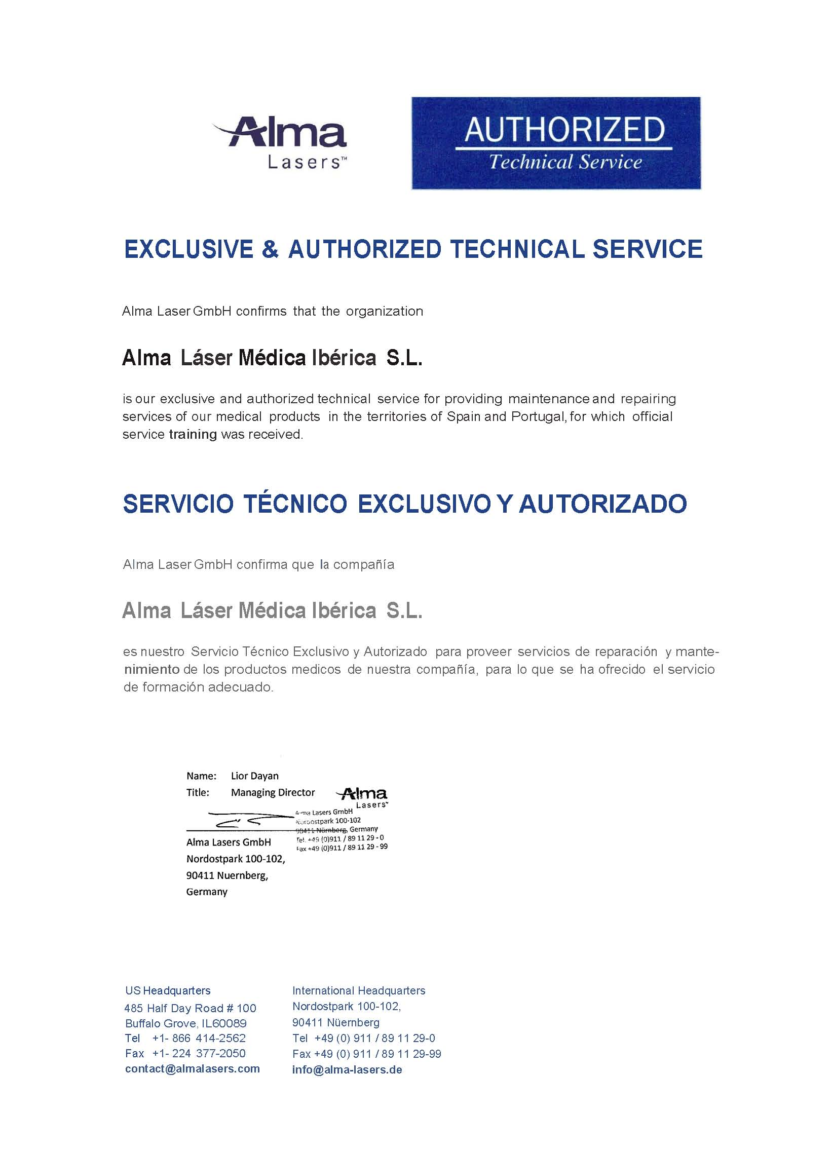 Soporte a clientes de Alma Lasers Médica